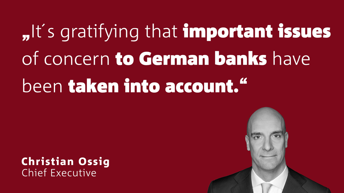 The Association of German Banks welcomes progress on the risk reduction package